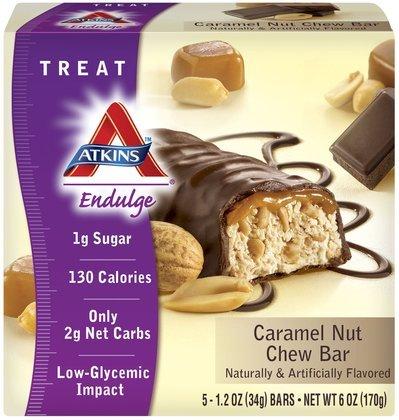 Atkins Endulge Bars, Caramel Nut Chew, 5 bars (Quantity of 3)