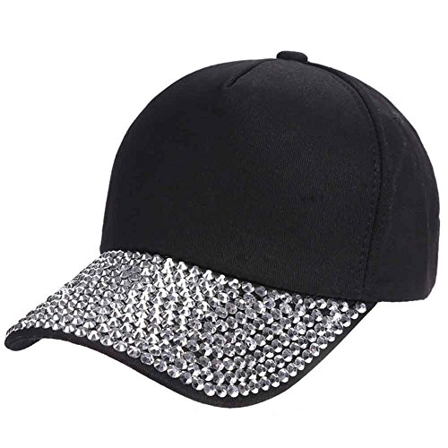 Rhinestone Black Baseball Hat - 1