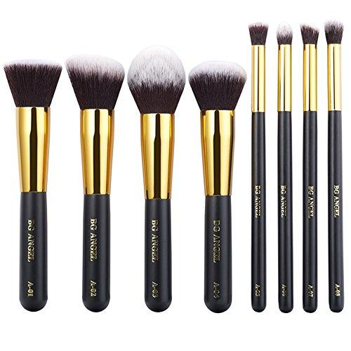 8pcs Makeup Brushes Powder Foundation Eyeshadow Blush Contour Brush Set (Gold) - 6