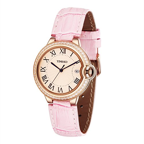 Time100 Women's Leather Strap Dress Wrist Watches Simple Retro Roman Hour Calendar Diamond Elegance Plated Alloy Case Watch (Plated Round Case)