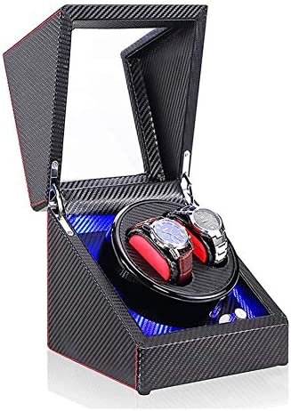 二重自動腕時計の巻取り機箱、2つの腕時計のためのLEDスイッチ5速調整モードの木の贅沢な収納ケース (Color : A)