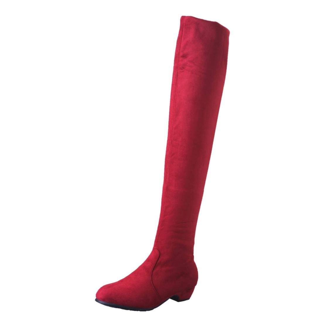 Women Boots, ღ Ninasill ღ Exclusive Flat Boots Shoes High Leg Suede Short Long Boots (9.5, Red)
