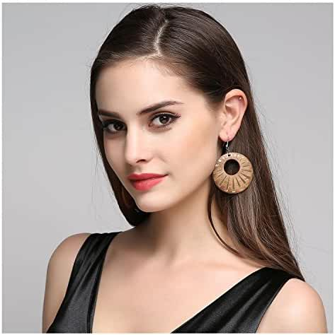 EVBEA Big Hoop Earrings for Women Africa Hollow Chandelier Wooden Earrings