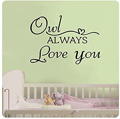 """33"""" Owl Always Love You Heart Cute Wall Decal Sticker Art Mural Home Décor Quote Baby Nursery"""