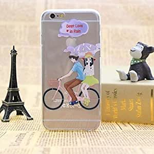QYF Couple Cycling Pattern TPU Relief Thin Transparent Diamond Paste Back Cover Case for iPhone 6
