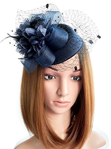 Coolwife Fascinator Hats Pillbox Hat British Bowler Hat Flower Veil Wedding Hat Tea Party Hat (Navy Blue) (Fascinator Hats Blue)