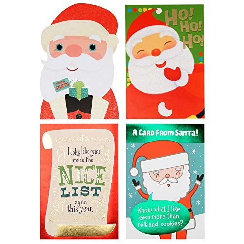 Hallmark from Santa Christmas Card Assortment for Kid (4 Cards and 4 Envelopes)