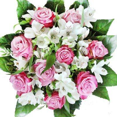Lila-weißer Rosenstrauß mit Alstromerien - Blumenstrauß Überraschung zum Geburtstag