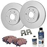 #7: Detroit Axle - Front Disc Brake Rotors & Ceramic Pads w/Clips Hardware Kit & BRAKE CLEANER & FLUID for 05-07 Escape w/Rear Drum Brakes