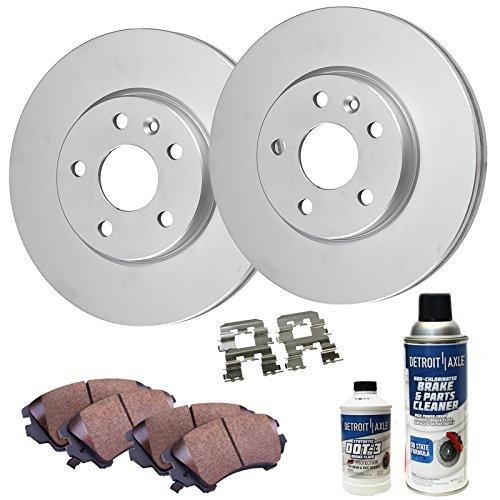 Detroit Axle - Front Disc Brake Rotors & Ceramic Pads w/Clips Hardware Kit & BRAKE CLEANER & FLUID for 05-07 Escape w/Rear Drum Brakes ()