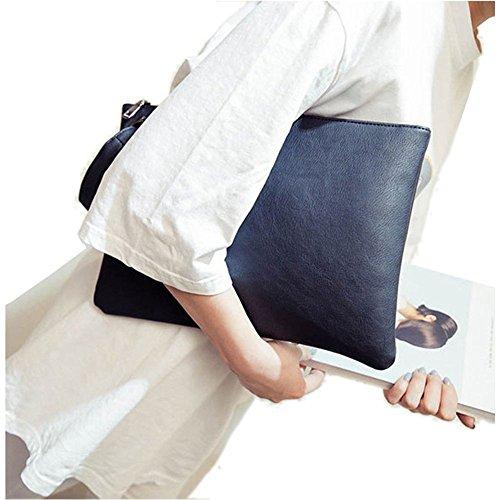 Aladin Oversized Clutch Bag Purse, Womens Large leather Evening Wristlet Handbag Gray (Clutch Purse)