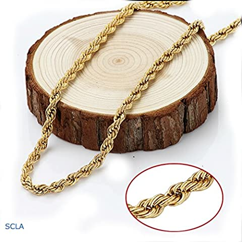 Gold Chain Necklace 24K Real Diamond Cut Gold Filled 4.5mm Rope Chain USA Made! Life Time Waranty (24k Gold Necklace Solid)