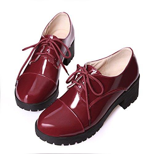 Frauen Starke Ferse Runde Zehe Lace-up Schwarz Lackleder Pumps Schuhe (41, weinrot)