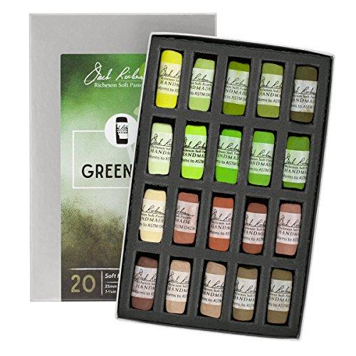 Jack Richeson 20 Piece Landscape Greenery 1 Hand Rolled Soft Pastel Set