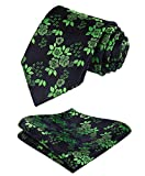 mens blue green ties - SetSense Men's Floral Jacquard Woven Tie Necktie Set 8.5 cm / 3.4 inches in Width Navy Blue / Green