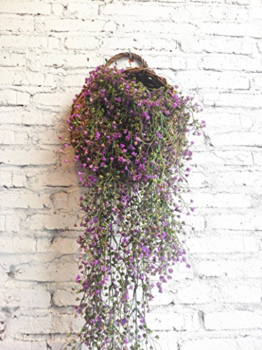 Meiliy 31.5'' Artificial Fake Hanging Vine String Plant for Home Garden Wall Decoration, Purple
