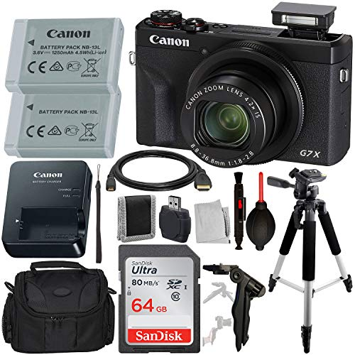 Canon PowerShot G7 X Mark III Digital Camera with Advanced Accessory Bundle – Includes: SanDisk Ultra 64GB SDXC Memory Card, Spare Extended Life Battery, 57″ Professional Tripod, Carrying Case & More