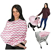 Baby Car Seat Cover Nursing Cover Breastfeeding Cover Scarf Multi use-Stroller Canopy,Shopping Cart, Swaddle, Hi-Chair. Soft Breathable Washable Baby Boy or Girl (Pink Chevron)