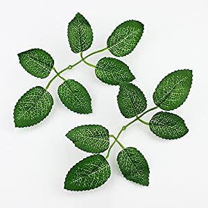 Artificial Leaf Green rose Leaves DIY party home Wedding Decoration Wreath Fake Flowers 50Pieces (dark green) 11