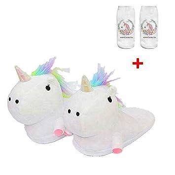 SKY TEARS Zapatillas de Felpa Unicornio Mujer Pantuflas Animales Niña por Casa Invierno para Adulto Talla