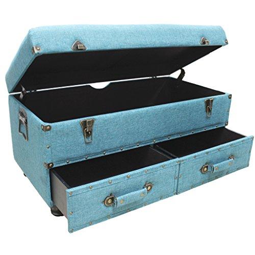 17h Linen Layton Storage Trunk Blue Best Furniture Stores