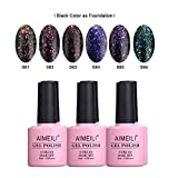 clear polish set - AIMEILI Galaxy Paranoid Collection Soak Off UV LED Clear Glitter Gel Nail Polish Color Set Of 6pcs X 10ml - Kit Set 18