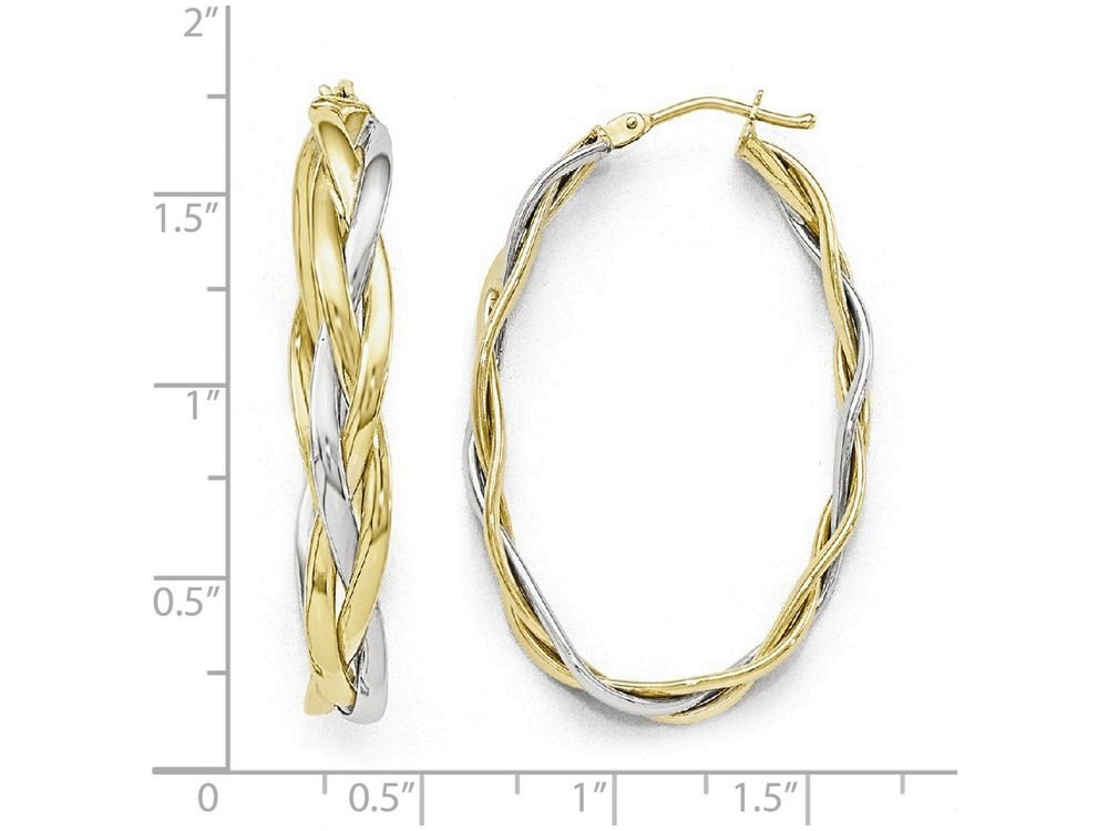 Finejewelers 10k Two-tone Polished Braided Hoop Earrings 10 kt Yellow Gold by Finejewelers (Image #2)