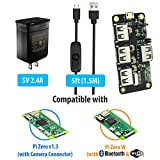 MakerSpot 4-Port Stackable USB Hub HAT for Raspberry Pi Zero V1.3 with 2.4A Power Supply & 1.5m Micro USB Cable with On Off Switch