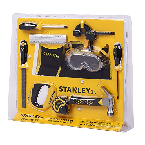 (Stanley Jr. 10-Piece Kids Tool Set with Tool Belt Pouch and Real Construction Tools for Pretend Play Toys or Building and Woodworking Activities)