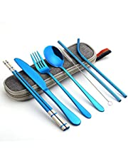 Travel Portable Utensils, Reusable Stainless Steel Utensils with Case, Portable Utensil Set for Lunch Box, 8-Piece Including Knife Fork Spoon Chopsticks Cleaning Brush Straws