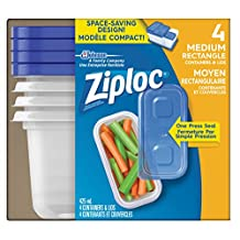 Ziploc Brand Containers, Medium Rectangle (1x2 Tall), 4 Count