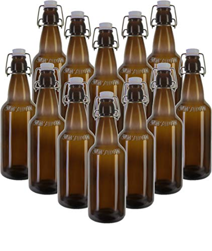 Circleware 07093 Set of 12 Brown Glass Bottles with Locking Swing Top Easy Wire Cap Stopper Kitchen Entertainment Dispenser Glassware Drink Pitcher for Water, Milk, Juice, Beer 16.4 oz
