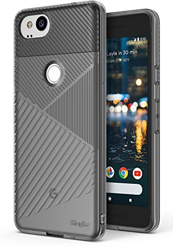 Ringke [Bevel] Compatible with Google Pixel 2 Modern Diagonal Strategically Ridged Design TPU Slimming Texture Durable Tapered Lip Slim Chamfered Profile Cover Google Pixel 2 Case – Smoke Black