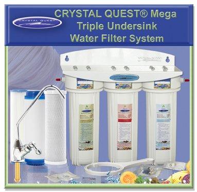 CRYSTAL QUEST® Undersink Replaceable Triple Multi PLUS Water Filter System
