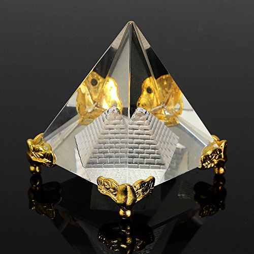 (Merssavo REIKI Energy Healing Feng Shui Egypt Egyptian Crystal Clear Pyramid Ornament)