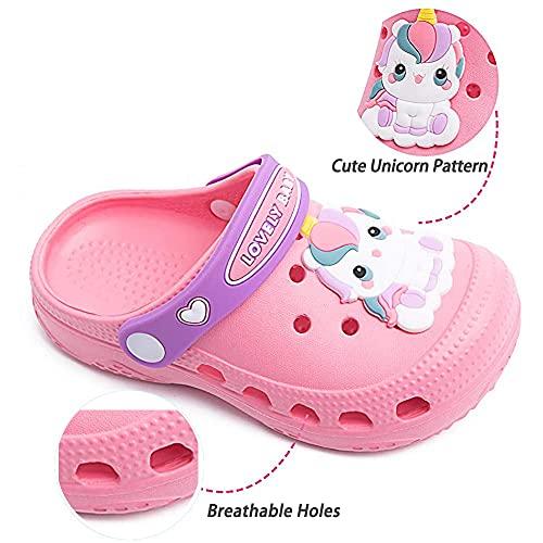 Kids Clogs for Boys Girls Non-Slip Cute Garden Shoes Children Lightweight Beach Pool Shower Slippers Sandals Mules Pink 160