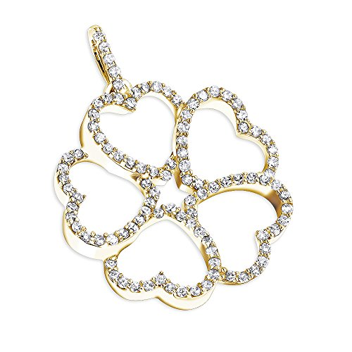 14K Women Multi Heart Natural 0.3 Ctw Pave Set Diamond Pendant Flower Design For Her (Yellow Gold) (Gold Pendant Flower White Diamond)