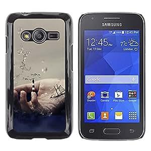 QCASE / Samsung Galaxy Ace 4 G313 SM-G313F / Símbolo de la mano de vela mar nave océano ondas / Delgado Negro Plástico caso cubierta Shell Armor Funda Case Cover