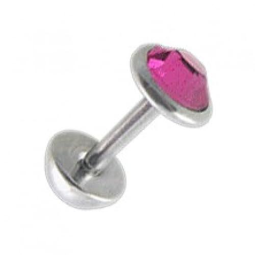 VOTREPIERCING Falso Dilatador Oreja Zirconia CZ Rosa 5 mm & Demi-Bola 1.2 x 6