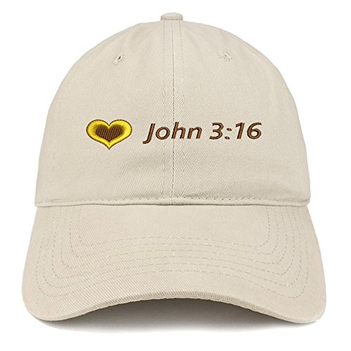 Trendy Apparel Shop Love John 3:16 Embroidered Brushed Cotton Dad Hat Ball Cap - Stone