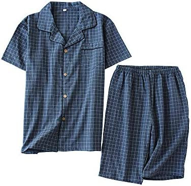 パジャマメンズ 半袖&短ズボン 綿100% 夏用 上下セット ポケット付き ルームウェア 薄手 盛夏向け 部屋着 吸汗通気