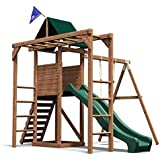 Monkey Bar Climbing Frame Playhouse Slide Swing Set - Dunster House MonkeyFort® Wilderness