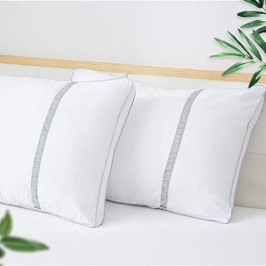 BedStory Almohada Antiácaros 42 x 70 cm Pack 2 Almohadas de Hotel Almohada con Relleno de Microfibra y Tejido Antialérgico para Dormir de Lado y Boca ...