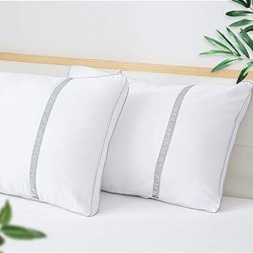 BedStory Almohada Antiácaros 42 x 70 cm Pack 2 Almohadas de Hotel de Lujo Almohada con Relleno de Microfibra y Tejido Antialérgico para Dormir de Lado y ...