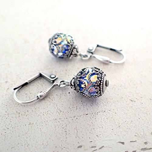 Aqua Blue AB Swarovski Crystal Caged Filigree Earrings - Ab Swarovski Crystal Heart Earrings