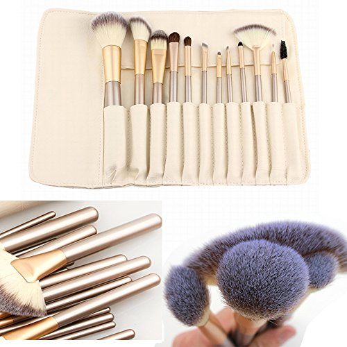 [Ammiy Makeup Brush Set with Wood Handle, White Case (12-Pieces)] (White Makeup No Smudge)