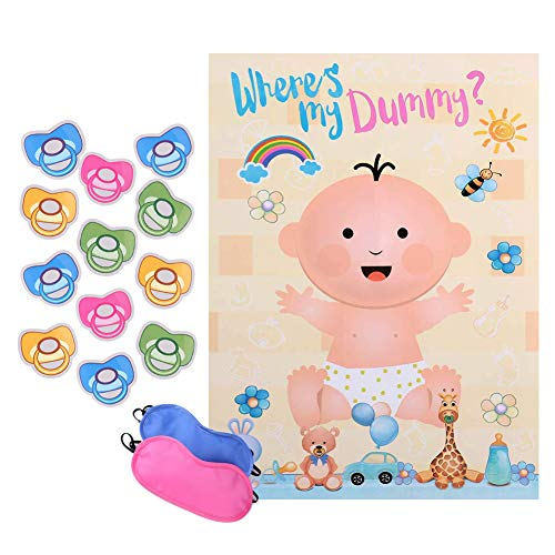 Reusable Baby Shower games - Pin the Dummy on the Baby Game | Large Size Poster | for Baby Shower Favors, Gender Reveal Party Supplies ()