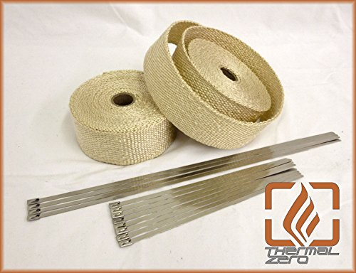 Tan Natural High Temperature Header Exhaust Pipe Insulation Wrap Kit: 2 Rolls EACH 2 INCH WIDE X 25 FEET LONG with Stainless Steel Zip Ties Kit- Thermal Zero - - Tan Exhaust Wrap