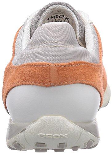 Geox D FRECCIA A - zapatilla deportiva de cuero mujer gris - Grau (LT GREY/PEACHC9149)