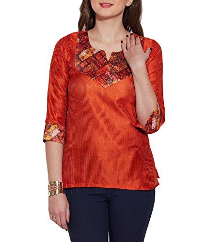 Womens-Fashion-Accessory-Faux-Silk-Polyester-Kurti-Top-Orange